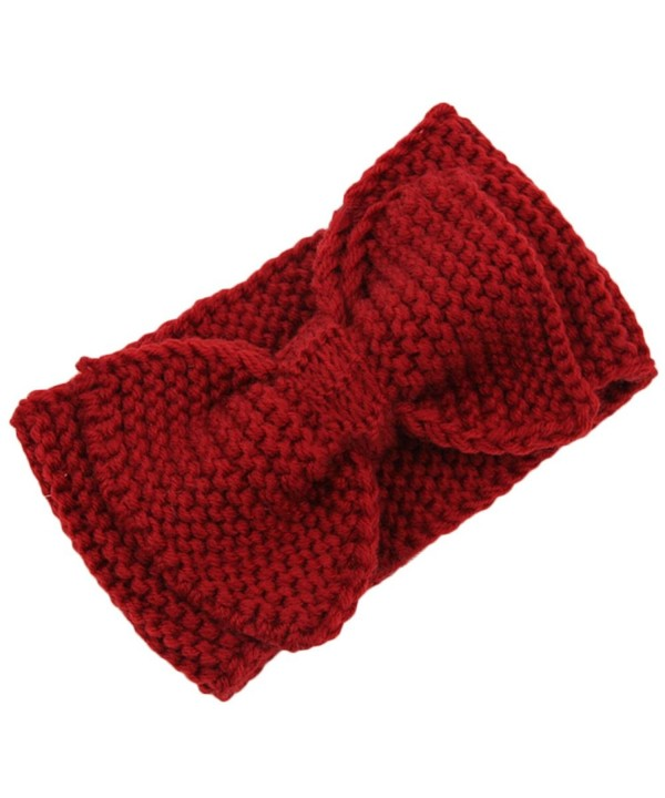 Baost Women Lady Crochet Bow Turban Knit Knitted Headband Headwrap Winter Hair Band - Red - C312NE34NSI