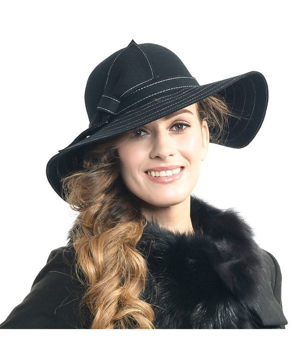 Fanny Lady's Wool Floppy Wide Brim Winter Felt Hat with Bow Sz-z0011 - Black - CC128LTJM9D