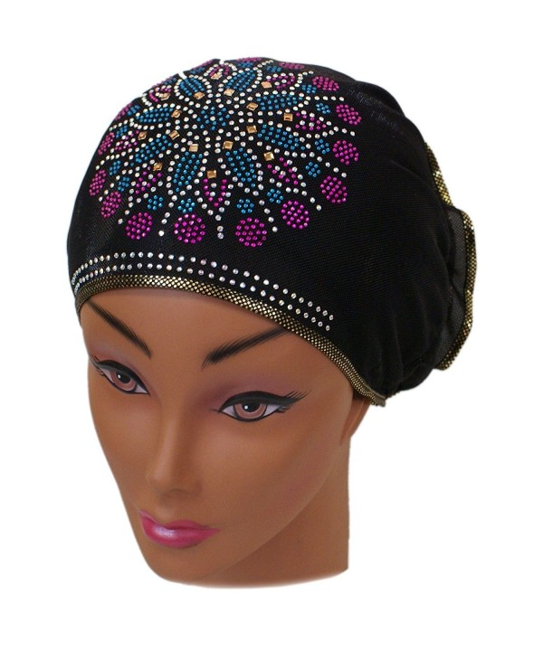 SSK Beautiful Metallic Turban-style Head Wrap - Blue/Pink Crystal Flower- Gold Trim - C9189XZUCXL