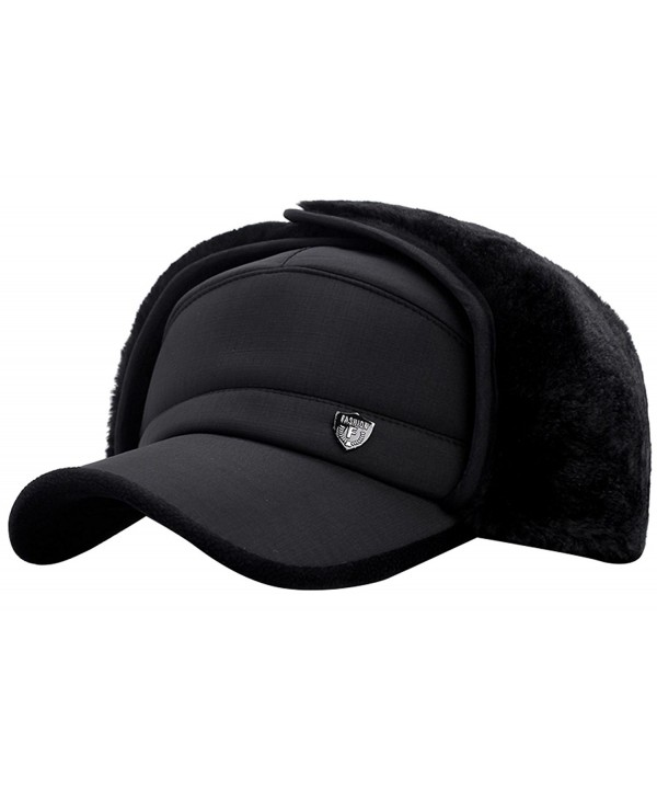 Panegy Fleece Lined Trapper Hat Thick Thermal Windproof Ski Cap for Men 4 Colors - Black - CT187T7WT6X