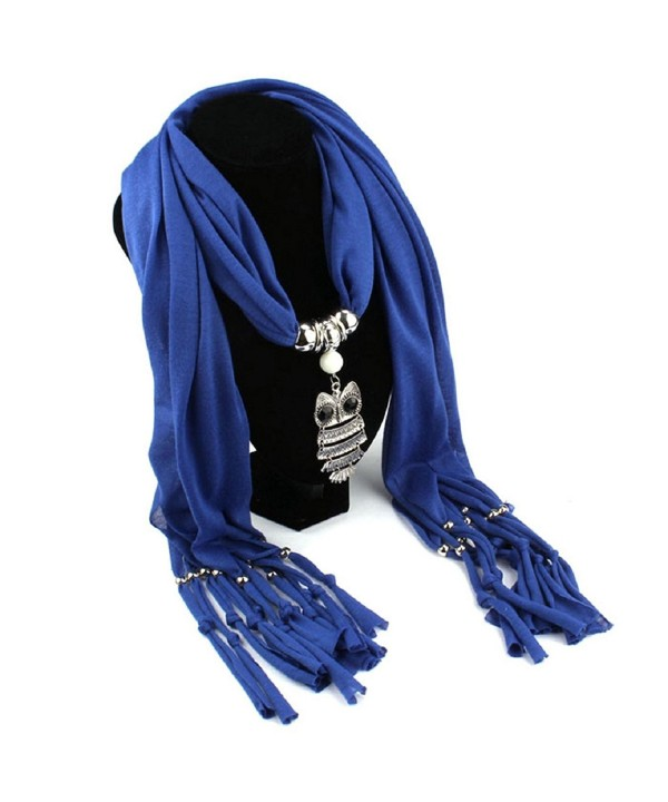 Malloom Ladies Charm Necklace Scarves Owl Pendant Jewelry Tassels Scarf Shawl Wrap - Blue? - CS127234ZQT