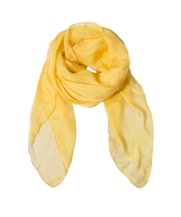 Solid Color Silk Scarf Can Be Used as Cape- Scarf and Wrap - Yellow - CR1803H552M
