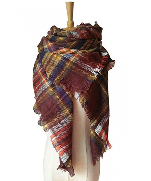 JOYEBUY Women's Warm Stylish Tassels Soft Plaid Tartan Scarf Large Blanket Wrap Shawl Valentine's Gift - Style 12 - CA1856D68KK