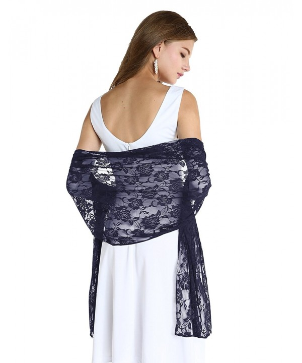 Wedtrend Women's Lightweight Chic Floral Lace Shawl Bridal Wrap Scarf - Navy - CR185GQZO6I