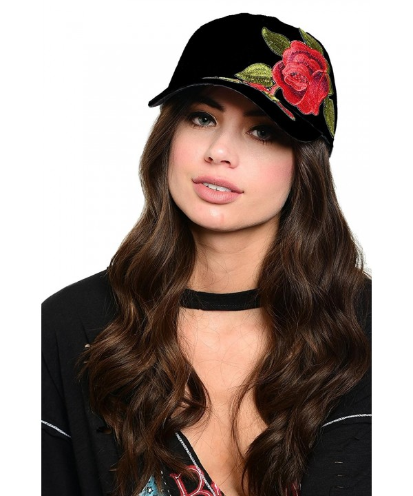 Ava Adorn Women's Rock n' Rose Baseball Cap - Black - CV1857CRIE2