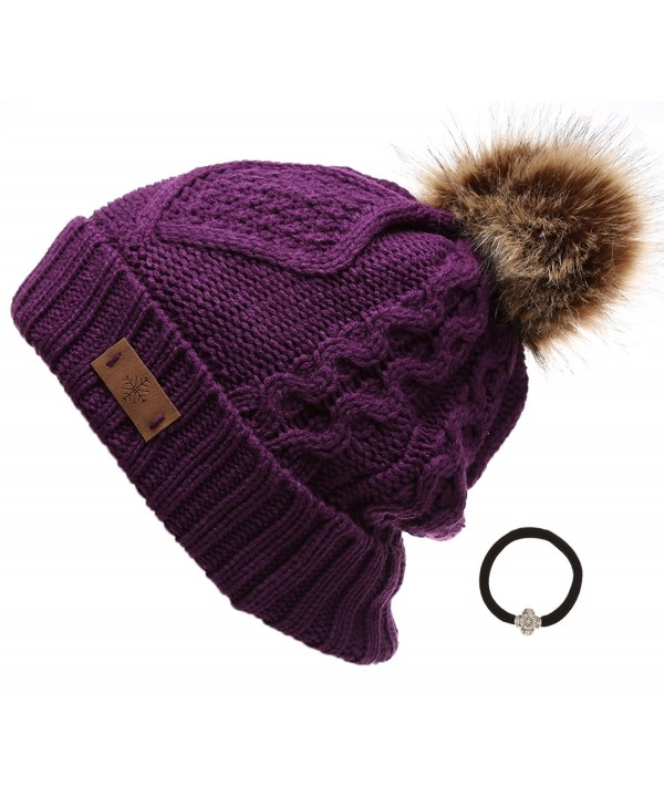 Women's Winter Fleece Lined Cable Knitted Pom Pom Beanie Hat with Hair Tie. - Purple - CU12MZHR9KL