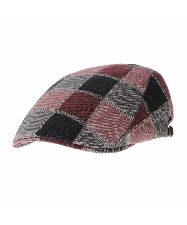 WITHMOONS Checkered Stitched newsboy Hat Flat Cap LD3177 - Red - CD12BDSOKJV
