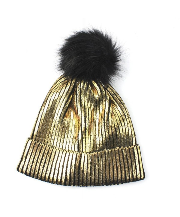 Genuiskids Women Fashion Pom Pom Beanie with Bling Sparkle Winter Fox Fur Slouchy Hat - golden - CJ188HM4T93