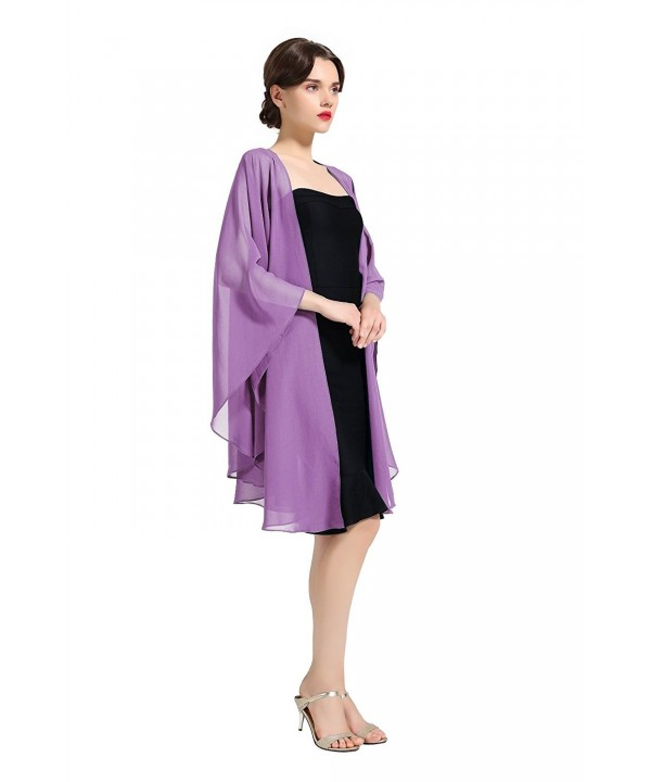 Chiffon Shawl Bridal Wedding Wrap Long Evening Scarves Scarf 25 Colors - Violet - CM184T7I25L