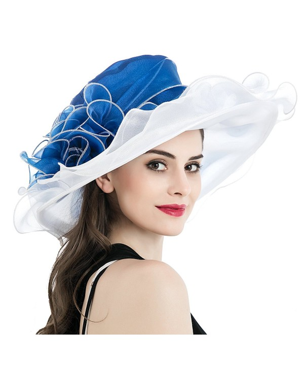 Dantiya Women's Kentucky Derby Church Summer Organza Wide Brim Party Wedding Hat - White and Blue - CR12O6K3GBU