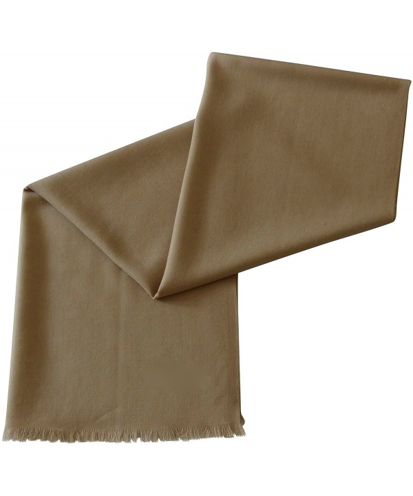 Solid Color Design 100% Wool 2 Ply Shawl Pashmina Scarf Wrap Stole CJ Apparel NEW - Beige - CE1279IELON