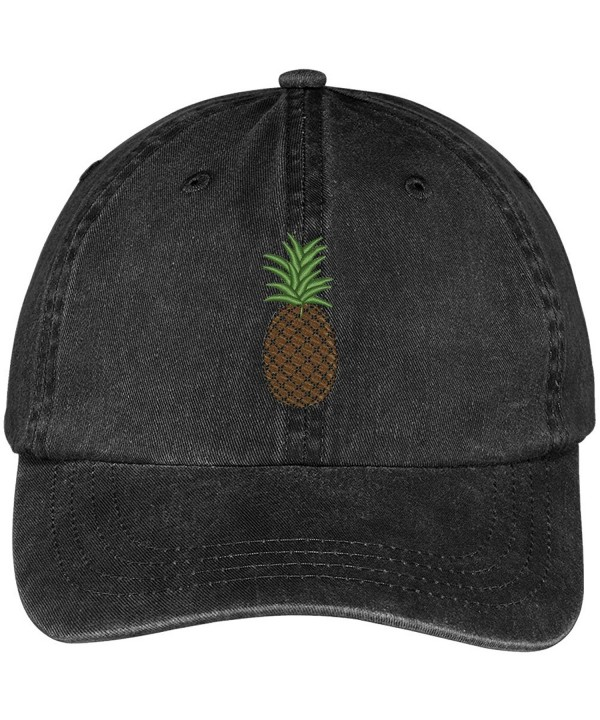 Trendy Apparel Shop Pineapple Embroidered Pigment Dyed 100% Cotton Cap - Black - CU12FXK4WN9