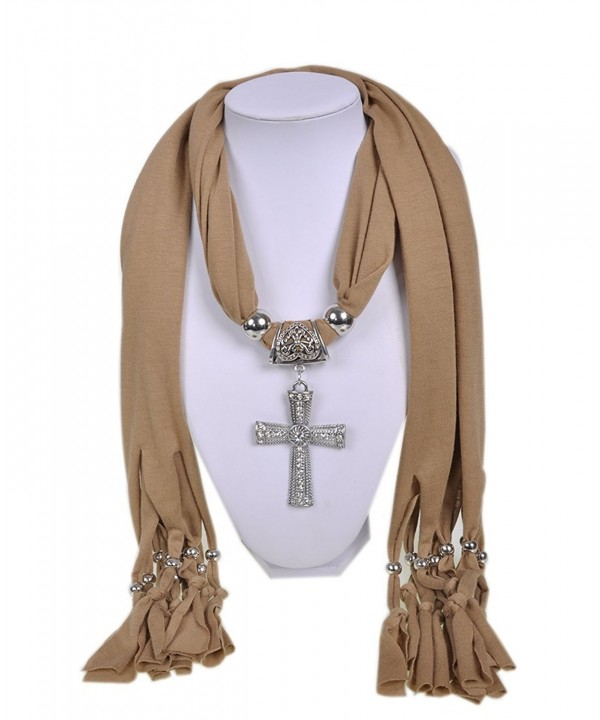 Wishcart Jewelry Scarf Cross Pendant Necklace Women Scarves - CF12G9VNH6T