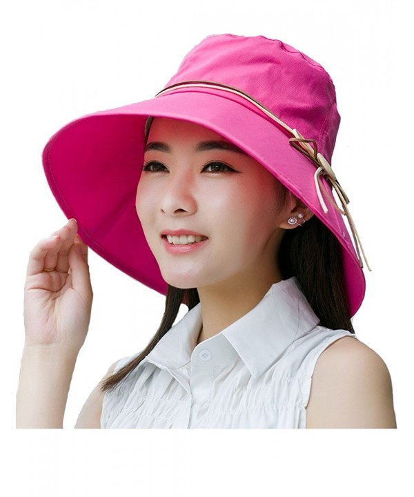Sun Hat For Women Beach Hat Wide Brim Hat Foldable Bucket Cord UPF 50+ - Rose - C317YSE72NL