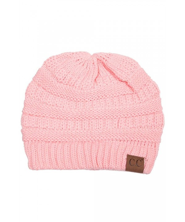 ScarvesMe C.C Trendy Warm Chunky Soft Stretch Cable Knit Beanie - Pale Pink - C012KV5FW9T