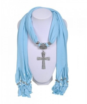 Wishcart Jewelry Scarf Cross Pendant Necklace Women Scarves - CP12G9VNFDJ