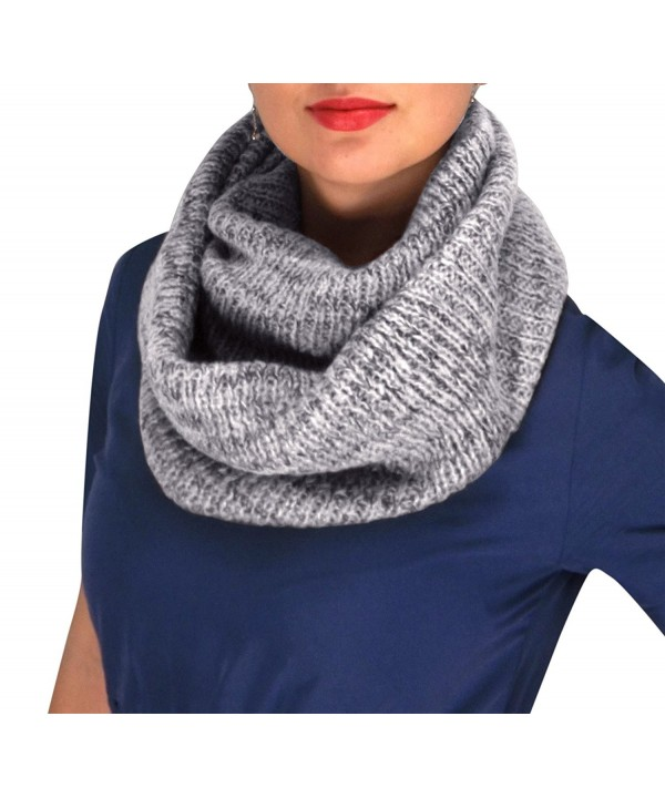 Peach Couture Noro Striped Winter Infinity Loop Cozy Cowl Scarves - Gray - CW12MZTEUML