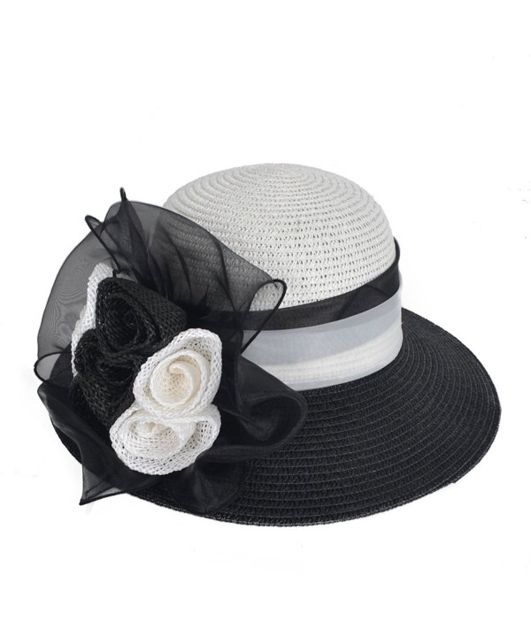 Women's Straw Cloche Hat Ribbon Flower Bucket Bridal Church Derby Cap - Black - CC12LT2WERV