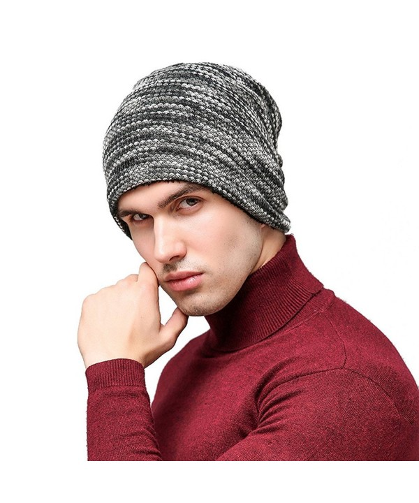 Hellofuture Mens and Womens Thicken and Fleece Lining Knit Beanie Hat Winter Hat Slouchy Warm Cap - Gray - C3186RMHAD7