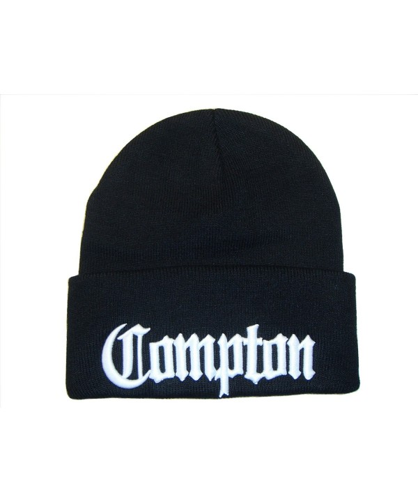 3D Embroidery City Compton Eazy E Los Angeles Beanie Cap Hat (One Size- Black/White) - CB11BEYL48Z