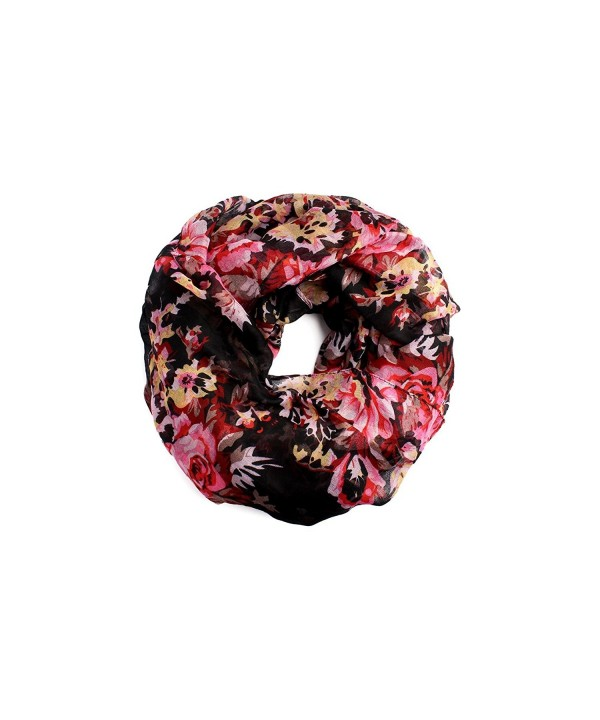 MYS Collection Women's Floral Winter Infinity Circle Loop Scarf - Black - CP12GFKY30N
