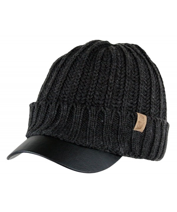 Men's Winter Visor Beanie Knitted Hat With Faux Leather Brim - Charcoal - C81266HRRPN