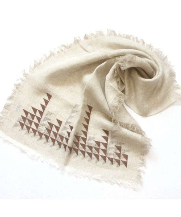 Kkusebo Women's Linen Long Size Luxury Triangle Embroidery Scarf - Natural Beige - CW11ZFZLJV1