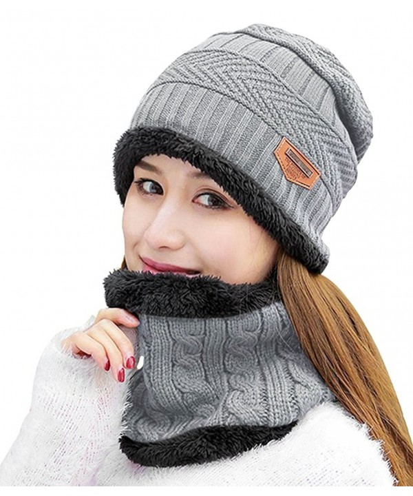 HindaWi Womens Beanie Winter Hat Scarf Set Slouchy Warm Snow Knit Skull Cap - Light Grey - CR188EH3GWX