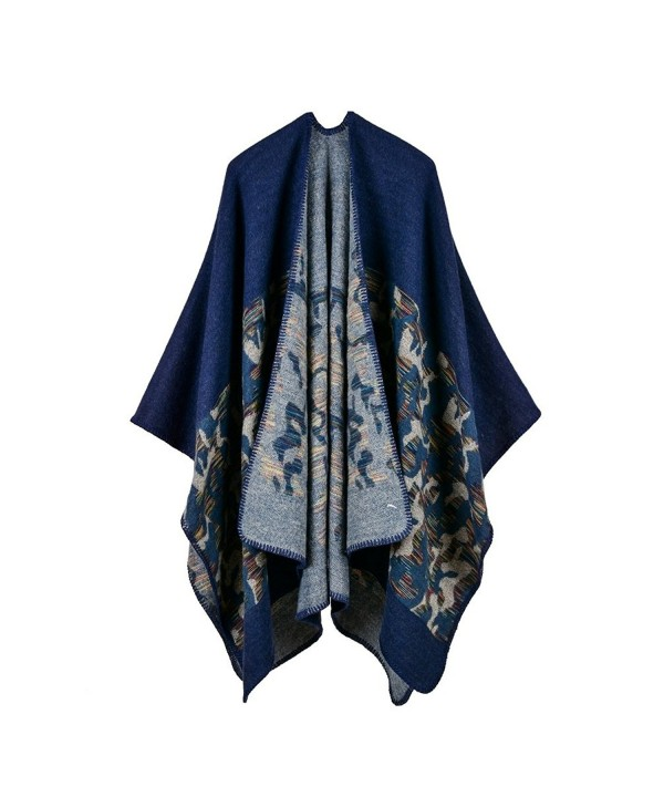 Bakerdani Women's Winter Wrap Blanket Poncho Cape Shawl Cardigans Sweater Coat - Blue - C1187IWRYKR