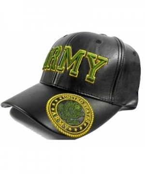 ARMY Cap Black Leather Embroidered Hat U.S.United States Military - CK12JBQUF41