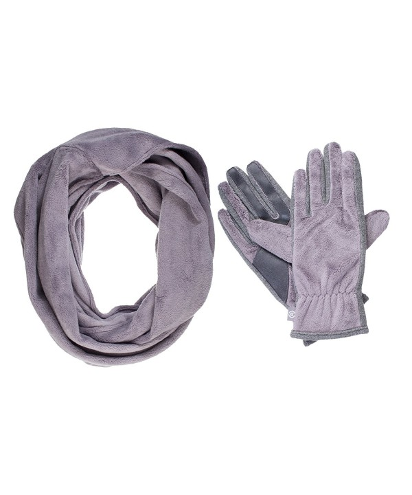 Isotoner Women's Teddy Infinity Scarf and Smartouch Glove Gift Set - Chrome - CJ184E4QUUX
