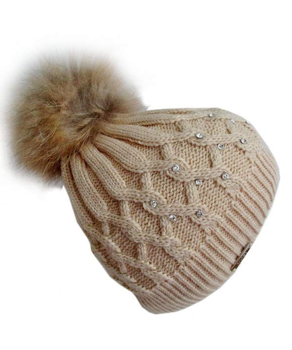 Frost Hats Rhinestones Winter Hat with Detachable Genuine Fox Fur Pom M-023RN - Beige - CZ11ZTTBUKX