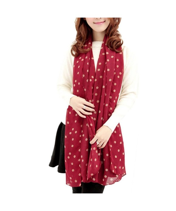 DZT1968 Long Soft Silk Chiffon Scarf Wrap Polka Dot Shawl For Women (Red) - C2127230IUL