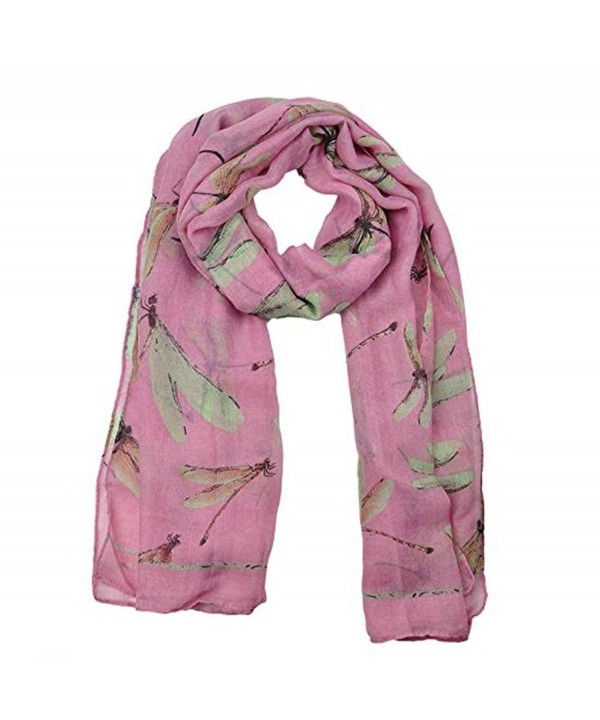 GBSELL Lady Womens Long Cute Dragonfly Print Scarf Wraps Shawl Soft Scarves - Pink - CK129R1STR5