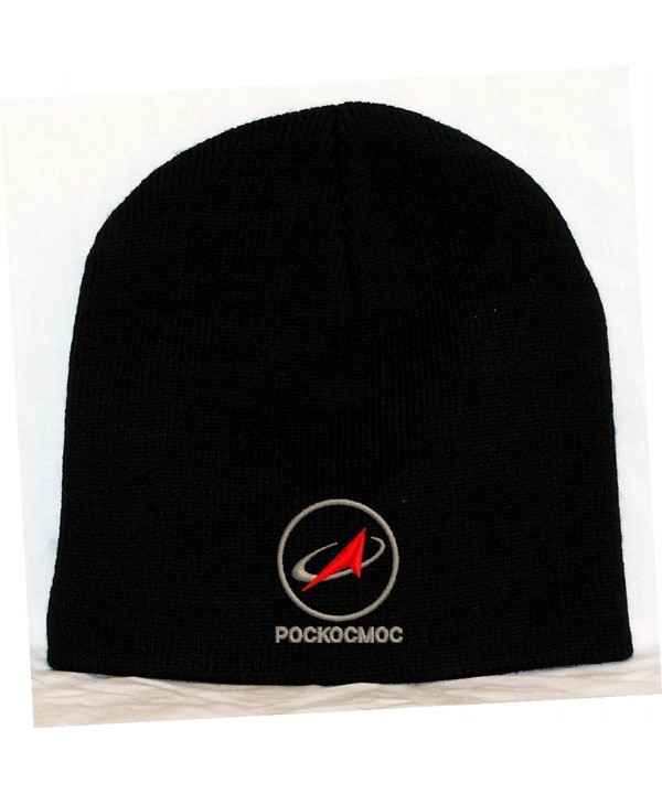 Russian Space Agency Logo - Pockocmoc Embroidered Skull Cap - Black - CR11GC17N7B