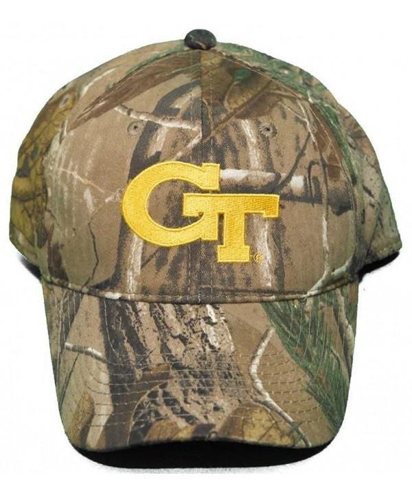 Georgia Tech University Yellow Jackets Buckle Back Hat Woodland Camo Cap - CV11OWR6MJR