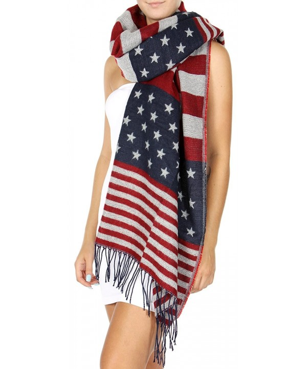 Knitted Rectangle Wide Plaid Scarf with Raw Fringe - Old Glory - CO188TR0Y37