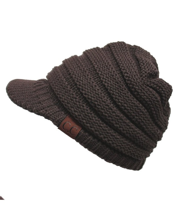Hatsandscarf CC Exclusives Women's Ribbed Knit Hat with Brim (YJ-131) - Brown - C912MAZ9YDR