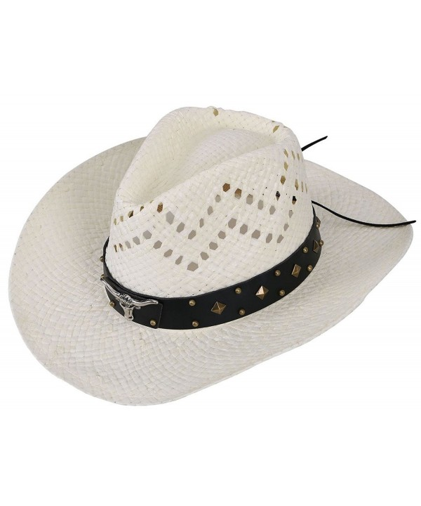 EPGW Men / Women's Western Cowboy Straw Hat with Shapeable Brim - Ivory_bull - CM12HXHKAIZ