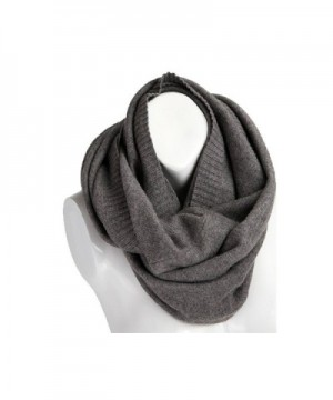 Sherry007 Women's Solid Wool Knitted Soft Comfy Winter Warm Circle Loop Infinity Scarf - Grey - CO12L0OKBH3