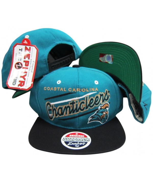 Coastal Carolina Chanticleers Diagonal Script Teal/Black Two Tone Snapback Adjustable Plastic Snap Back Hat / Cap - CF116XEX6TB