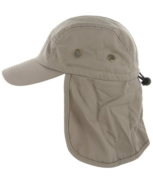 DealStock Fishing Cap with Ear and Neck Flap Cover - Outdoor Sun Protection - Khaki - C111VTKVPUB
