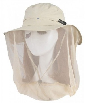 Camo Coll Women's Outdoor UPF 50+ Sun Hat with Mesh Face Mask - Light Khaki - C51213SYCNF