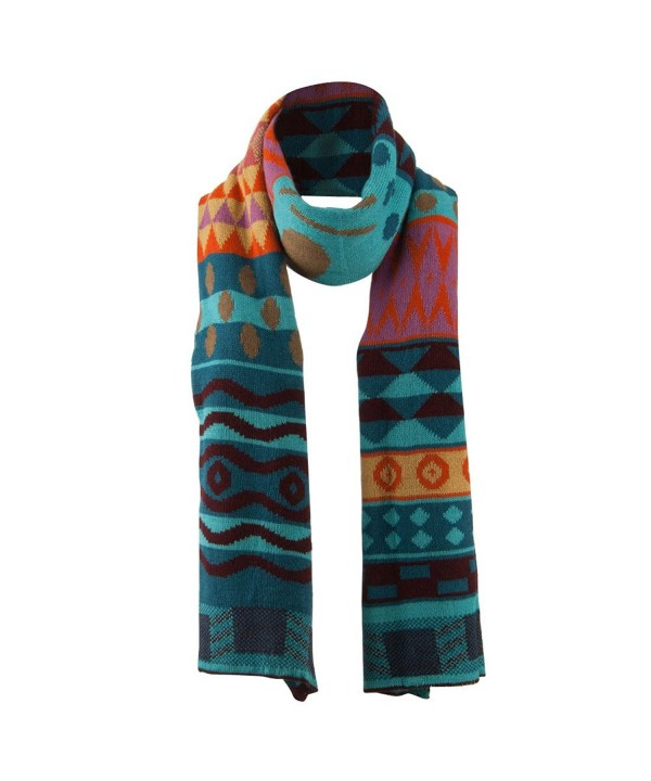 Women's Tribal Print Scarf - Blue - CV11GI74RHN