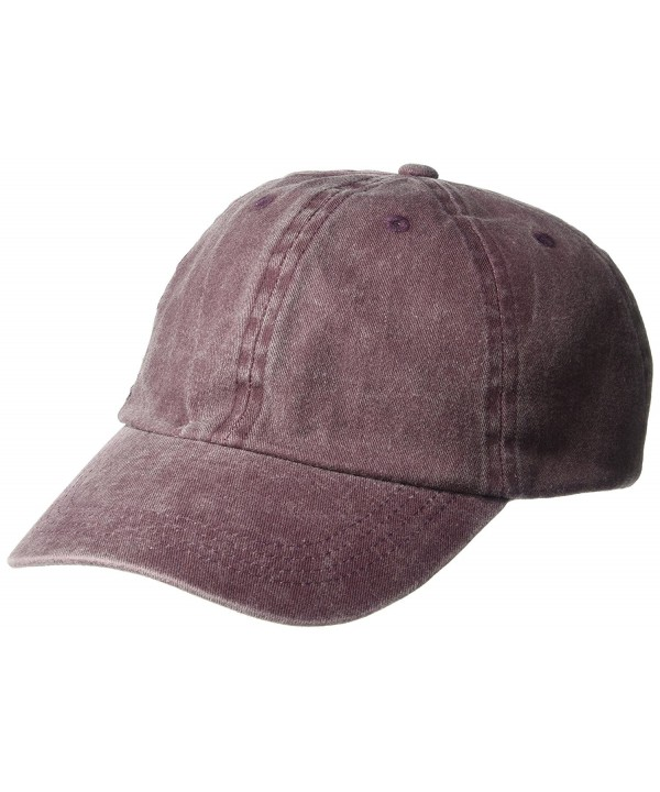 NYC Underground Women's Mineral Washed Baseball Cap - Burgundy - CR184CI8D7X
