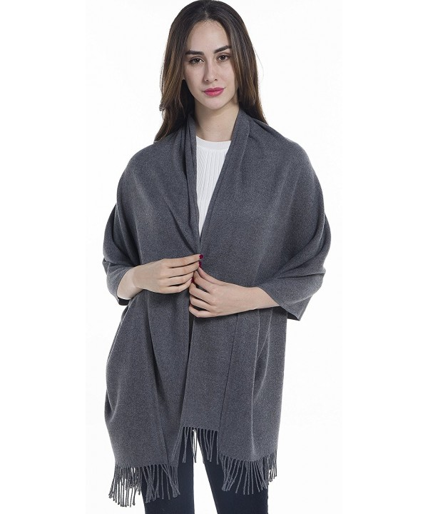 Niaiwei Extra Large Womens Long Cashmere Wool Winter Shawl Wrap- Solid Color 78 27 inch - Gray - C5186YR8XNX