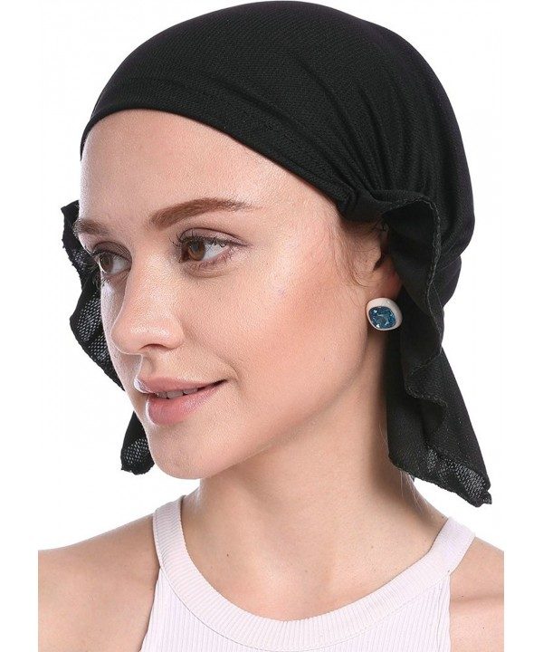 YI HENG MEI Women's Elegant Strench Wave Hem Muslim Turban Chemo Cancer Cap Headscarf - Black - C017Z5605KN