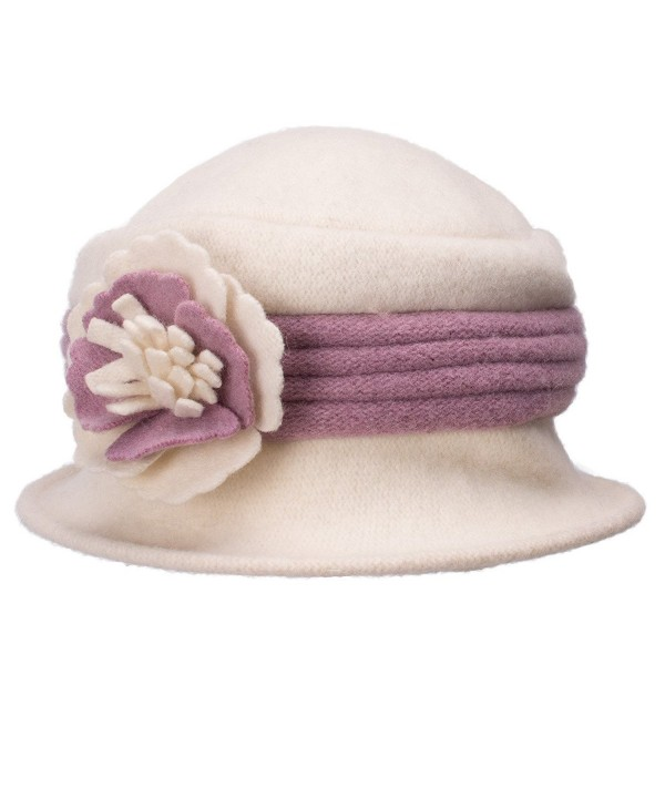 Lawliet Two-Tone Retro Womens Wool Warm Flower Band Dress Bucket Cloche Cap Hat A217 - White - CU12MBQWNBV