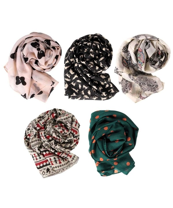 BMC Stylish 5pc Lightweight Summer Scarf Printed Collection- Various Designs - Set 1 - CS11L6GAWS3