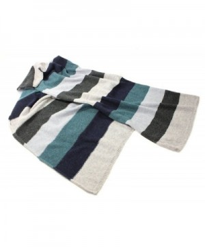 "Striped Scarf Long 100% Lambswool 72"" x 15"" - Grey/Teal - CF17YHZ9WES"